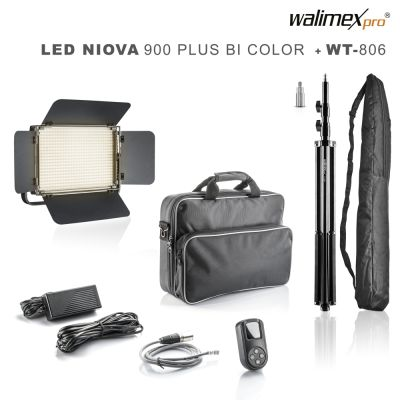 Walimex pro LED Niova 900 Plus Bi Color Set mit  WT-806 Stativ
